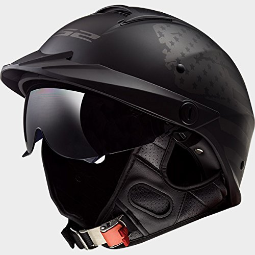 LS2 Helmets Motorcycle & Powersports Helmet's Half Rebellion (1812 Matte Black Flag, Large) (Ride Helmet Half)