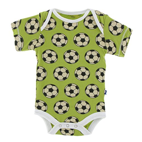 Kickee Pants Little Boys Print Short Sleeve One Piece, Meadow Soccer, 6-12 Months