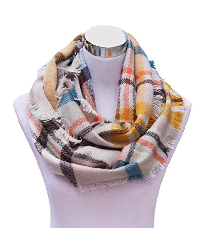 Knitted Check Scarf - Lucky Leaf Women Girls Cozy Warm Thick Tartan Check Pattern Circle Loop Scarves (Beige Yellow Plaid)