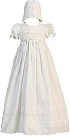 Girls White Cotton Christening Gown with Bonnet Set - Baby or Infant Girl's Christening Dress