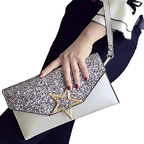 ALAIX Womens Formal Clutch Evening Purse Envelope Rhinestone Handbag with Wristlet Shoulder Chain Grey