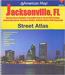 Jacksonville Florida Map.American Map Jacksonville Florida Street Atlas Trakker Maps Inc