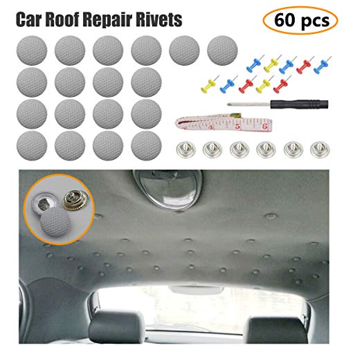 EZYKOO 60 pcs Car Roof Headliner Repair Button, Auto Roof Snap Rivets Retainer Design for Car Roof Flannelette Fixed, with Installation Tool and Fit All Cars(Grey Grid)