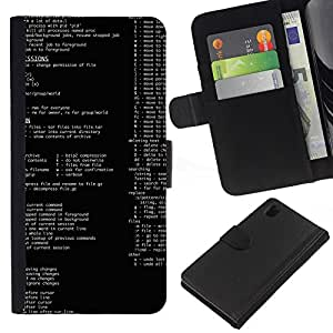"""Be-Star la tarjeta de CršŠdito Slots PU Funda de cuero Monedero caso cubierta de piel Para Sony Xperia Z1 L39 ( Cš®digo de programaciš®n computacional Es Hacker Retro"""" )"""
