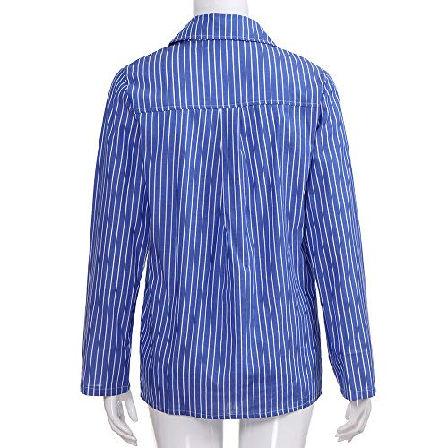 Button e Classique V Top Chemisier Guesspower Shirt Blouse Top Femme Up Manches Mode Multicolore Chemise Tunique Longues Chemisier Chic Ray Col Bleu HXFUPqF1