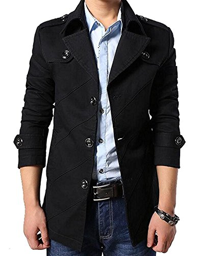 Mistere Men's Premium Cotton Lapel Single Breasted Half Trench Coat BlackUS-S
