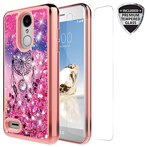 - Rosebono Quicksand Glitter Case For LG Zone 4/Tribute Dynasty/Aristo 2/Rebel 3/Phoenix 3/LG K8 2017/Fortune/Risio 2/Rebel 2 LTE/Aristo With Tempered Glass Screen Protector (Catcher)