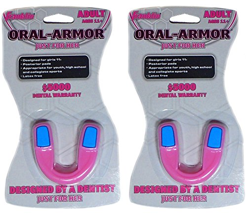 Franklin Sports Oral-Armor Just For Her Assorted Mouthguards - 2 Pack (Guards Mouth Softball)