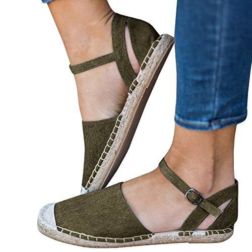 Nulibenna Womens Casual Espadrilles Sneaker Ankle Strap Canvas Sandals Shoes Army Green I9EuBsWAd