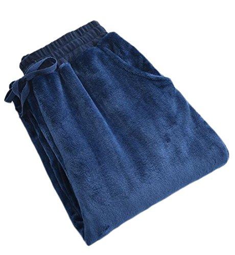 Pants Flannel Pajama Striped (Fulok Mens Flannel Casual Drawstring Long Sleep Lounge Pajama Pants Navy XL)