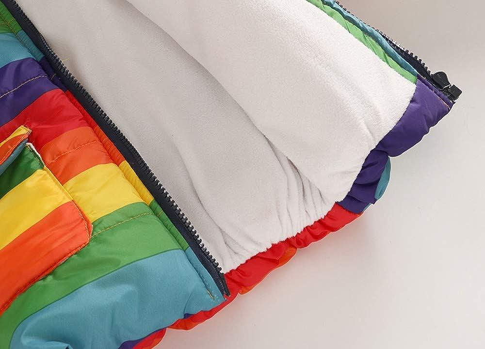 WARMSHOP Toddler Boys Girls Coat,2018 Winter Warm Stripe Rainbow Fur Collar Hooded Fleece Pockets Jacket Outcoat