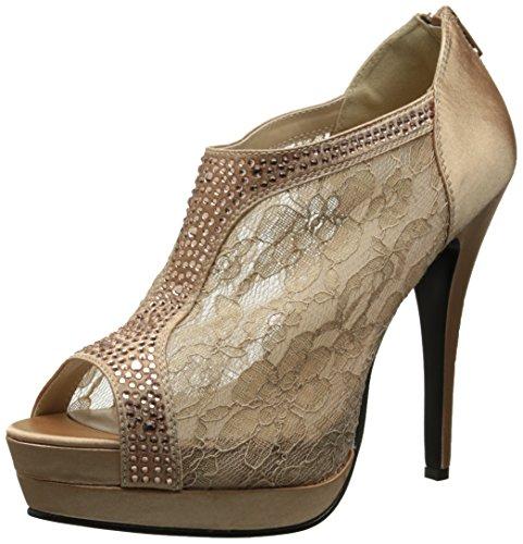 Fabulicious Elegante High Heels Ankle Peep Toe Pumps BELLA-26 Satin Rotbraun, Größe F:10 US / 40