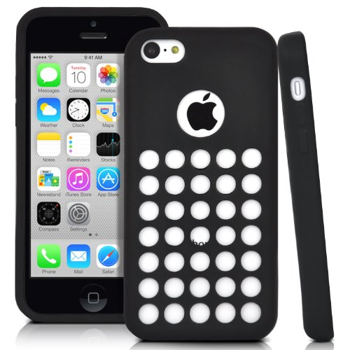 Oddless Entities Slim Fit Polka Dot Hole Design Silicone Rubber Case for iPhone 5c (Black)