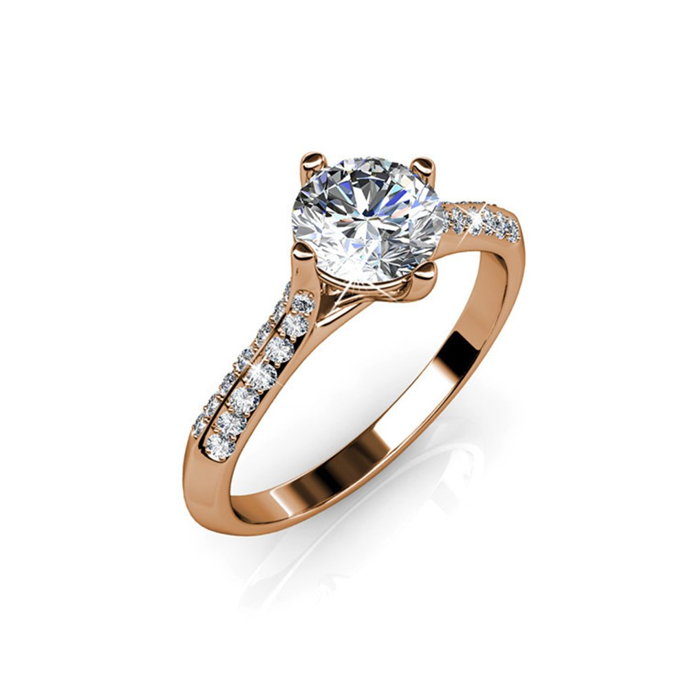 f932eb8571e9 Cate & Chloe Leona Fate 18k Gold Ring with Swarovski Crystals, Fancy  Beautiful Solitaire Round Cut Crystal Simulated Diamond Engagement Rings,  Promise ...