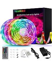 Tenmiro 65.6ft Led Strip Lights, Ultra Long RGB 5050 Color Changing LED Light Strips Kit with 44 Keys Ir Remote Led Lights for Bedroom, Kitchen, Home Decoration