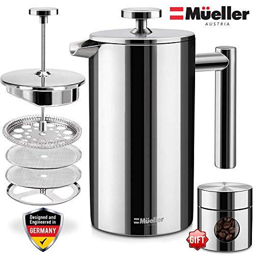 Glass Hand Pressed - Mueller French Press Coffee Maker, 20% Heavier 18/10 Stainless Steel, Multi-Screen System, Rust-Free, Dishwasher Safe