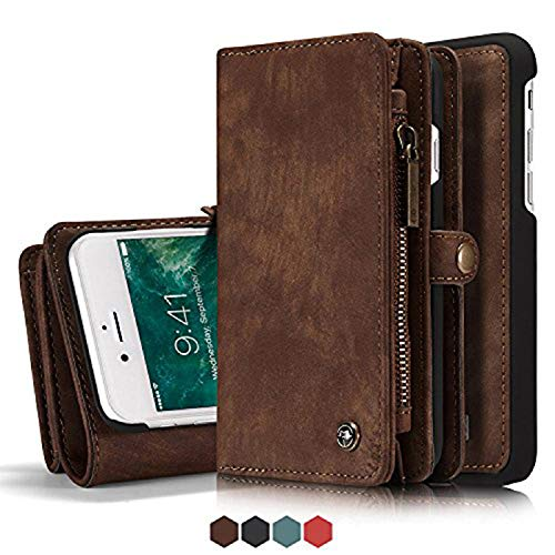Iphone 7 Plus Leather Wallet Magnetic Phone Case Detachable Protective Case with Card Holder Folio Flip Cover, Brown