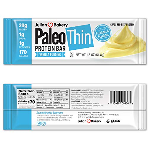 New! Paleo Protein Bar® (Vanilla Pudding) 12 Bars (20g Grass-Fed Beef) (Low Net Carbs) (w/Organic Prebiotics + Probiotics) (Gluten Free)
