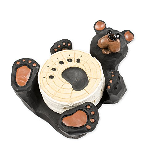 Set of 4 Bear Coasters 8 x 7 x 4 Inch Resin Crafted Tabletop Figurine