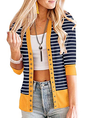 PAPOSON Women's 3/4 Sleeve Striped Button Down Casual Cardigan Soft V-Neck Knitwear (Navy Stripe-Yellow,L)