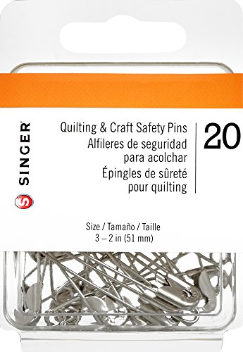 Singer Quilting and Craft Nickle Plated Safety Pins, Size 3