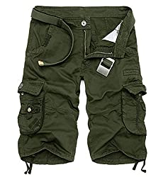 LOVECC Men's Summer Casual Wear Cotton Cargo Shorts(No Belt)