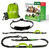 Hands Free Dog Leash + Running Training Walking Leash & Double Dog Leash Coupler Set, Fits 2 Dogs + Reflective Leash • Adjustable Waist Belt + Strong Bungee Leash
