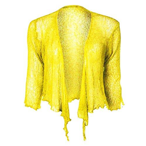 Bali Nuovo Cima Doppio Le Limone spalle Bolero Tie up multa potato knit alzata Elastico Donne Cardigan Janisramone signore di 0WqBTd0
