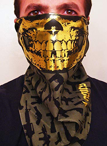 Solid Gold Foil Skull on Olive Army Green and Machine guns Bandana scarf wrap mask gaiter shooting airsoft paintball US Drab ()