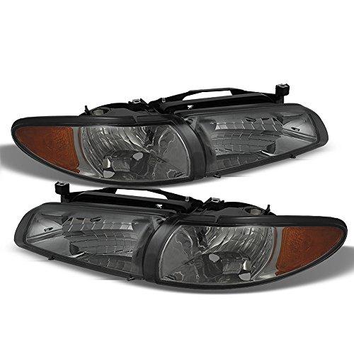 ACANII - For Smoke Lens 1997-2003 Pontiac Grand Prix Headlights w/Corner Signal Lights 97-03 Driver + Passenger - Am Side Grand Corner Drivers