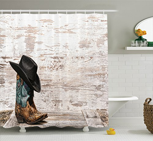 Western Decor Shower Curtain by Ambesonne, Traditional Rodeo Cowboy Hat and Cowgirl Boots in a Retro Grunge Background Art Photo, Polyester Fabric Bathroom Set with Hooks, 75 Inches Long, Brown Black