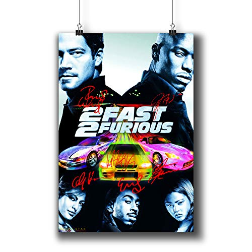2 Fast 2 Furious (2003) Movie Poster Small Prints 423-201 Reprint Signed Casts,Wall Art Decor for Dorm Bedroom Living Room (A4|8x12inch|21x29cm)