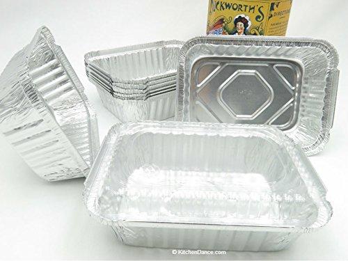 KitchenDance Disposable Aluminum 1-1/2 Pound Food Saver Pans with Lids #235 (500, Plastic Lids) by KitchenDance