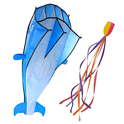 IMAGE 3D Kite Huge Frameless Soft Parafoil Giant Blue Dolphin Breeze Beach Kites,Gift for Kids,Family