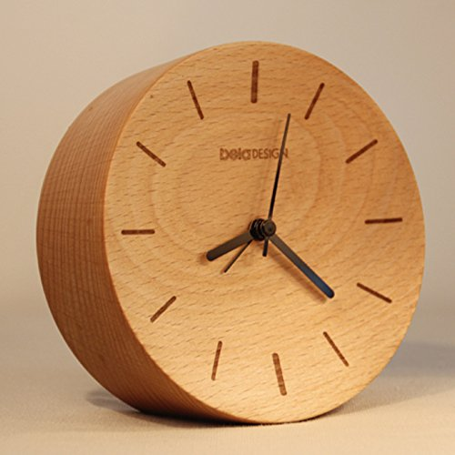 Beladesign Alarm Clock, Modern Style Table Clock, Beech Wooden Clock (Stripe)