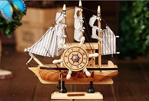 TOUYOUIOPNG Home Decorative Collectibles, Wooden Music Sailing Mediterranean Style Clockwork Music Box