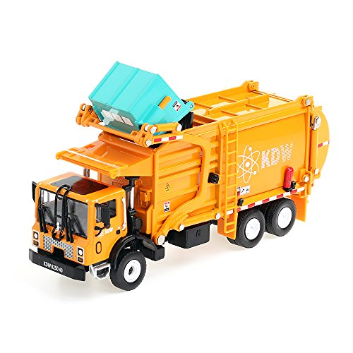 KDW 1/43 Scale Diecast Recycling Garbage Truck Toys for Kids With Bin (Orange)
