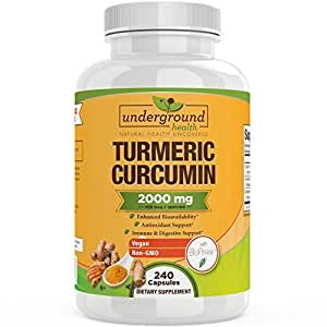 Turmeric Curcumin 2000mg ★ ORGANIC TURMERIC ★ 240 Veggie Capsules. 95% Curcuminoids with Bioperine Black Pepper Extract. 2000mg Daily Serving. Highest Potency Turmeric Supplement.