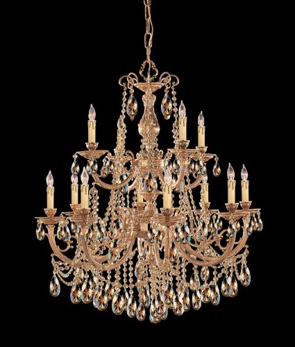 Crystorama Golden Teak Strass Crystal - Crystorama Lighting Group 479-OB-GTS Olde Brass / Golden Teak Swarovski Strass Etta 12 Light Candle Style Crystal Chandelier