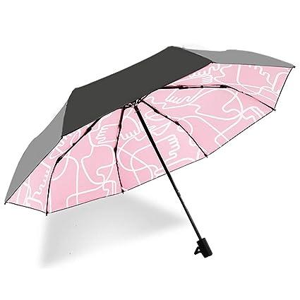 Sombrilla Paraguas Doble Uso Protección Solar Creativo Tres Paraguas Plegable Plegable Sombrilla De Goma Negro Chica