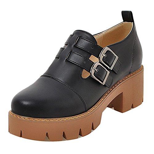 COOLCEPT Zapatos de Tacon Chunky con Hueco Botines Casual para Mujer Black