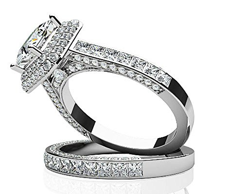 Or blanc 14 K Glamorous double Halo Coupe Princesse de mariage Ensemble