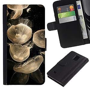iBinBang / Flip Funda de Cuero Case Cover - Mar Negro Blanco minimalista Naturaleza - Samsung Galaxy Note 4 SM-N910