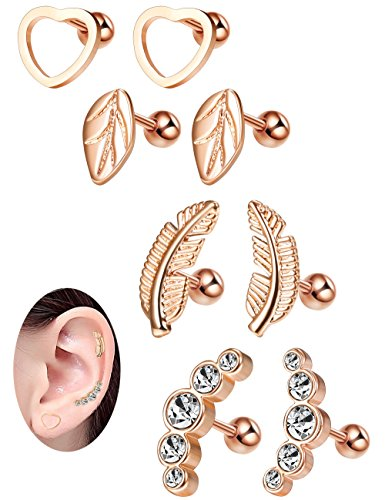 Milacolato 16G Cartilage Tragus Earrings Set for Women Girls Helix Conch Daith Piercing Jewelry 4 Pairs Rose