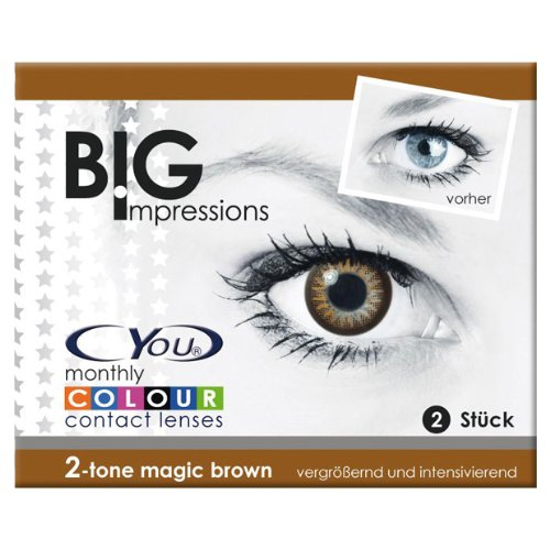 Cyou Big Impressions farbige Monatslinsen magic brown,  weich, 2 Stück, BC 8.6 mm, DIA 14.00, -1.00 Dioptrien