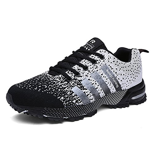 Topteck Men's Breathable Knit Athletic Shoes Womens Solf Lightweight Running Sneskers Outdoor Workout Gym Tennis ()