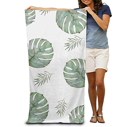 Women Girls Body Wrap Bath Towel Green Palm Leaves Painting Patterned Soft Beach Towel 31