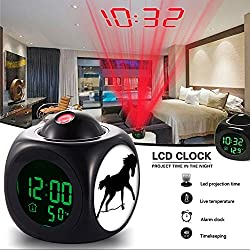Girlsight Alarm Clock Multi-function Digital LCD Voice Talking LED Projection Wake Up Bedroom with Data and Temperature Wall/Ceiling Projection,owl-174. Nature, Deserts, Animal, Farm - 2447354