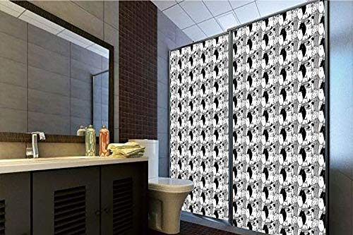 Horrisophie dodo 3D Privacy Window Film No Glue,Cat,Monochrome Pattern with Hand Drawn Style Animal Characters Different Cute Mascots Decorative,Black White,70.86