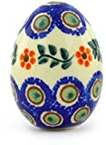 Polish Pottery Egg Figurine 2¾-inch (Sunflower Peacock)